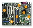 pentium 4 motherboard with 3 isa slots and on-board video and lan