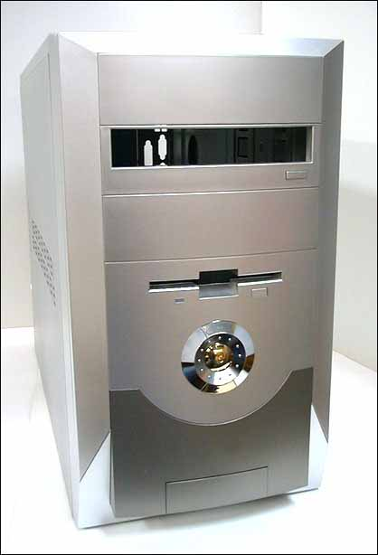 mpe md14 silver / chrome medium tower computer case