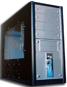 Black Medium Tower case with 10 drive bays and side window, front USB port & transparent side cover with two fans