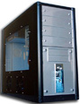 black mid tower metal case with side window, medium tower chassis