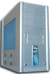 Mid Tower case with 10 drive bays and side window, front USB port & transparent side cover with two fans