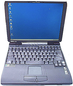 used laptop, Dell Latitude CPi A366XT, windows 95 laptop with serial port and floppy drive