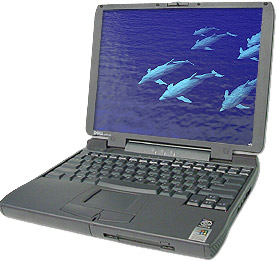 Dell Latitude CPi A400XT, windows 95 laptop with serial port and floppy drive