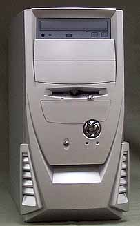 silver chrome mid tower case with grey cd rom drive
