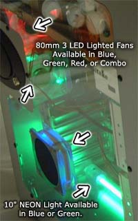 lighted case fans, 8cm, 9.2cm, 12cm fans with led